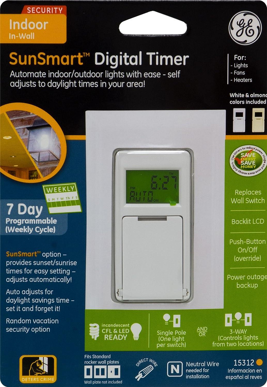 ge sunsmart 3 way digital in wall timer amazon com