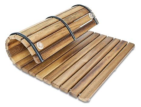 Pedana tappetino flessibile per doccia bagno in legno di teak