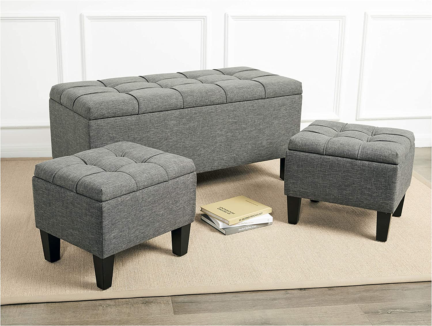 First Hill Bergen 3-Piece Storage Ottoman Bench Set with Fabric Upholstery, Iron Gray