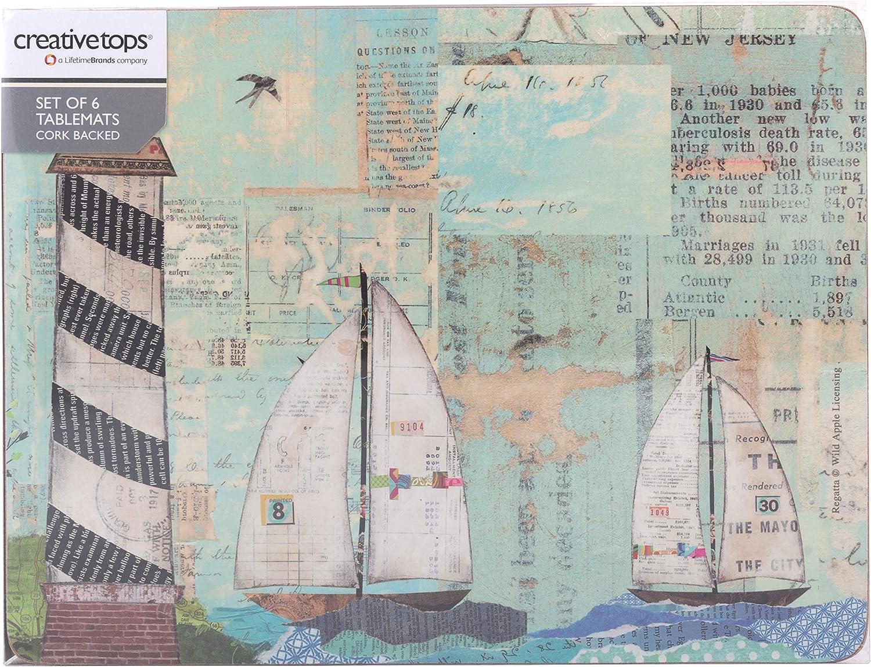 Set Of 6 Creative Tops Sea View Cork-Back Premium Placemats