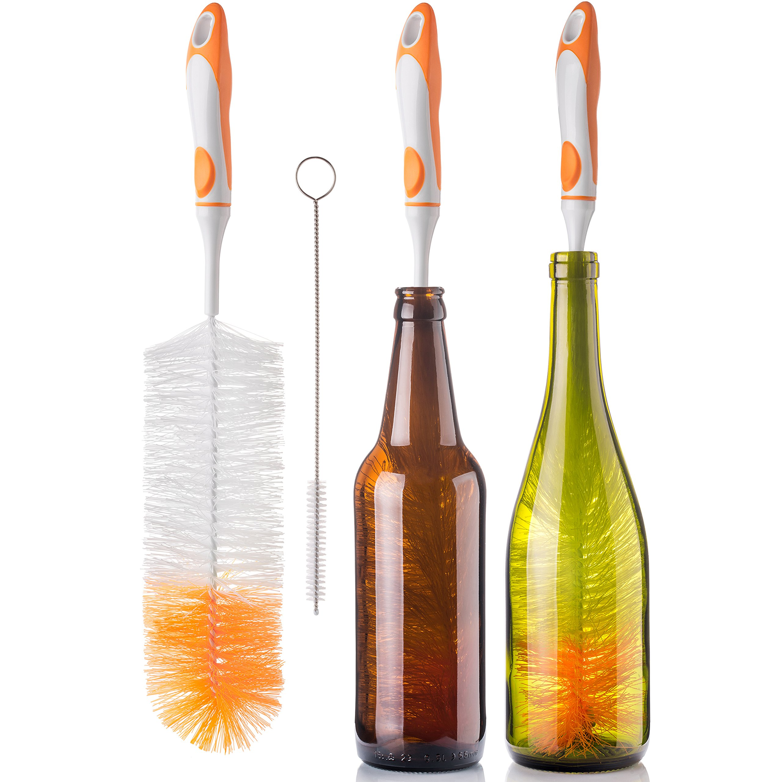 Bottle Brush Cleaner Set by Atmiko - Kitchen Cleaning Supplies with Good Grip Soft Handle to Clean any Long Narrow Neck Beer Wine Kombucha Bottles Decanters Jugs + Small Straw Washing Brush