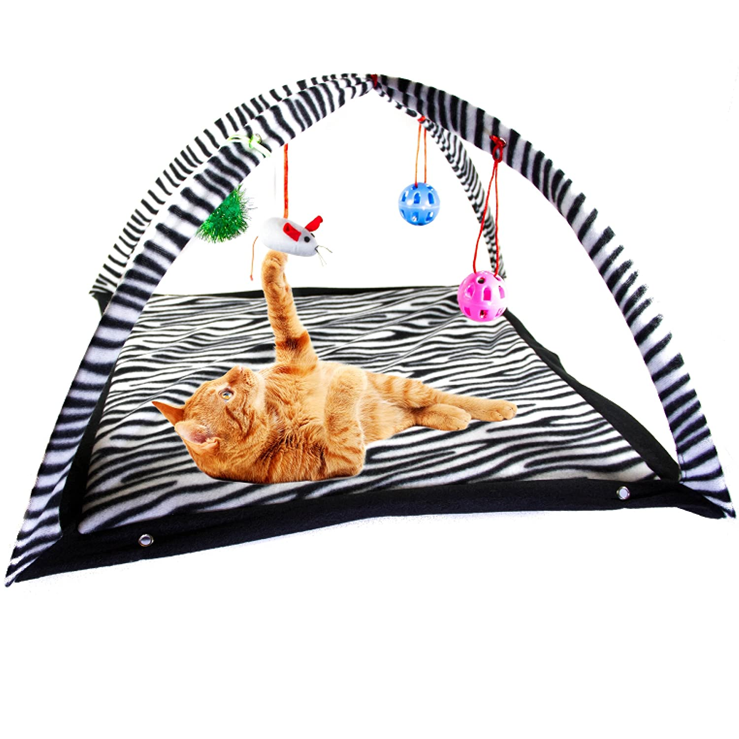 Cat Activity Center with Hanging Toy Balls, Mice & More FREE Bonus Cat Collar Helps Cats Get Exercise & Stay Active Best Cat Toys on Amazon by BigUpBrands