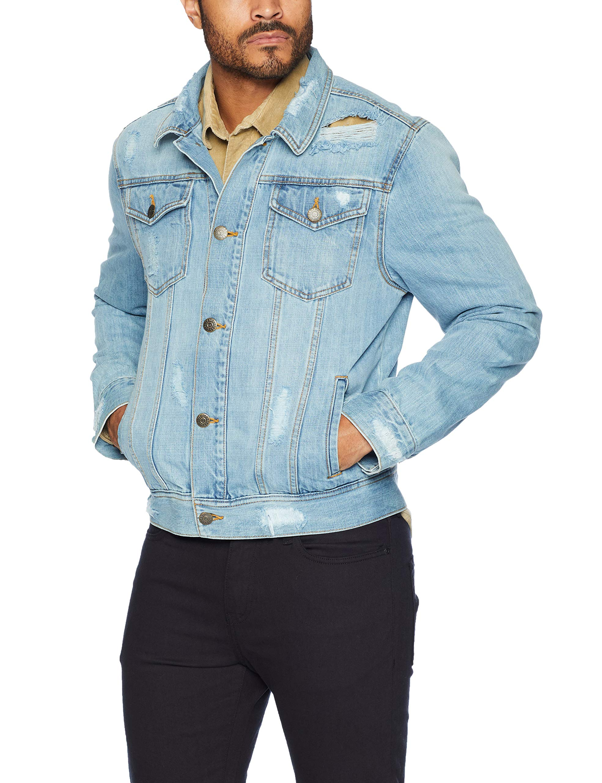 Quality Durables Co. Men's Regular-Fit Distressed Jean Jacket M by Quality Durables Co.