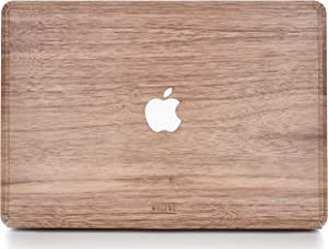 WOODWE Real Wood MacBook Skin for Mac Pro 15 inch Touch Bar Edition | Model: A1707/A1990; Late 2016 – Mid 2019 | Natural Walnut | TOP&Bottom