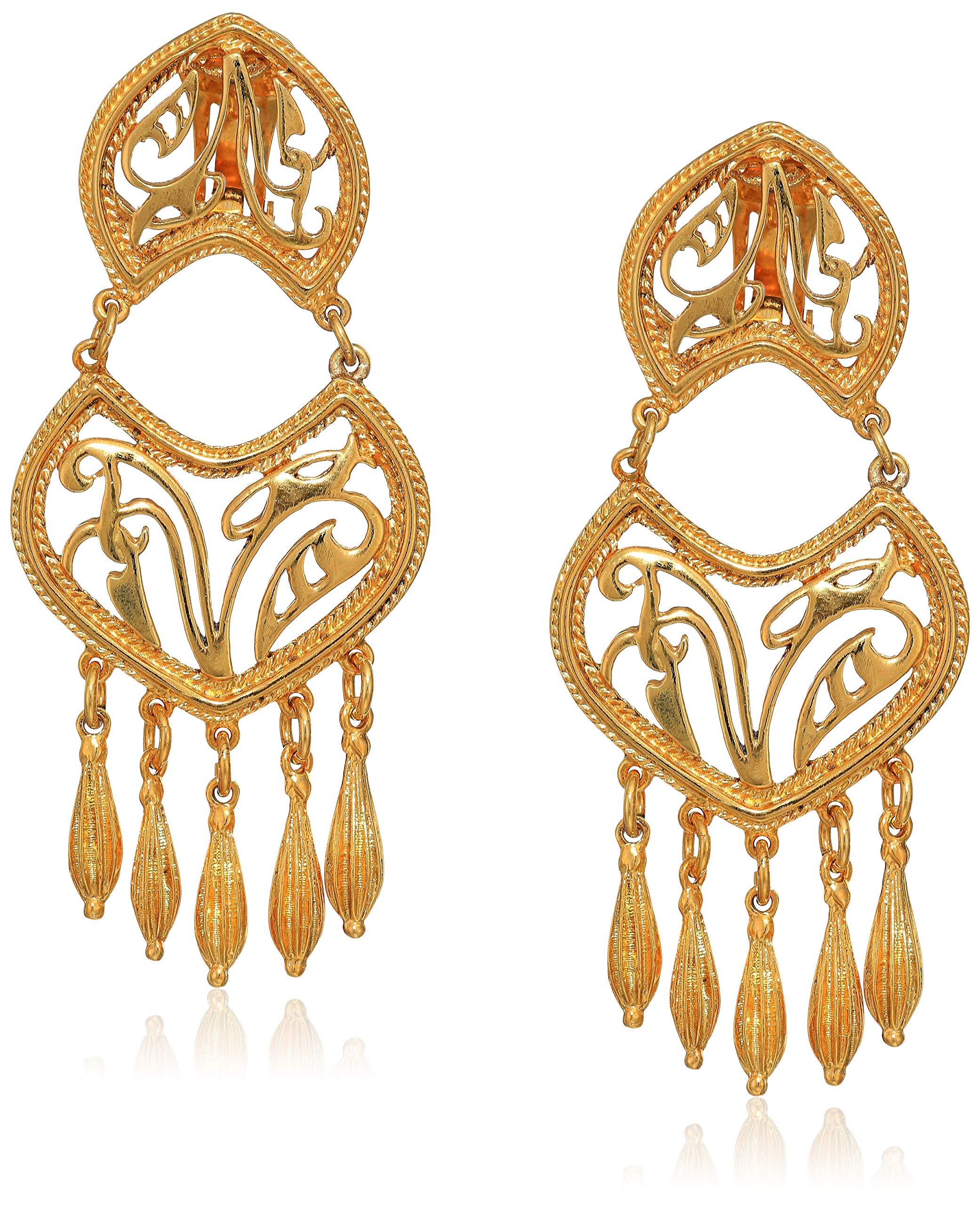 Ben-Amun Jewelry Helen of Troy Gold Tassel Drop Clip On Earrings by Ben-Amun Jewelry
