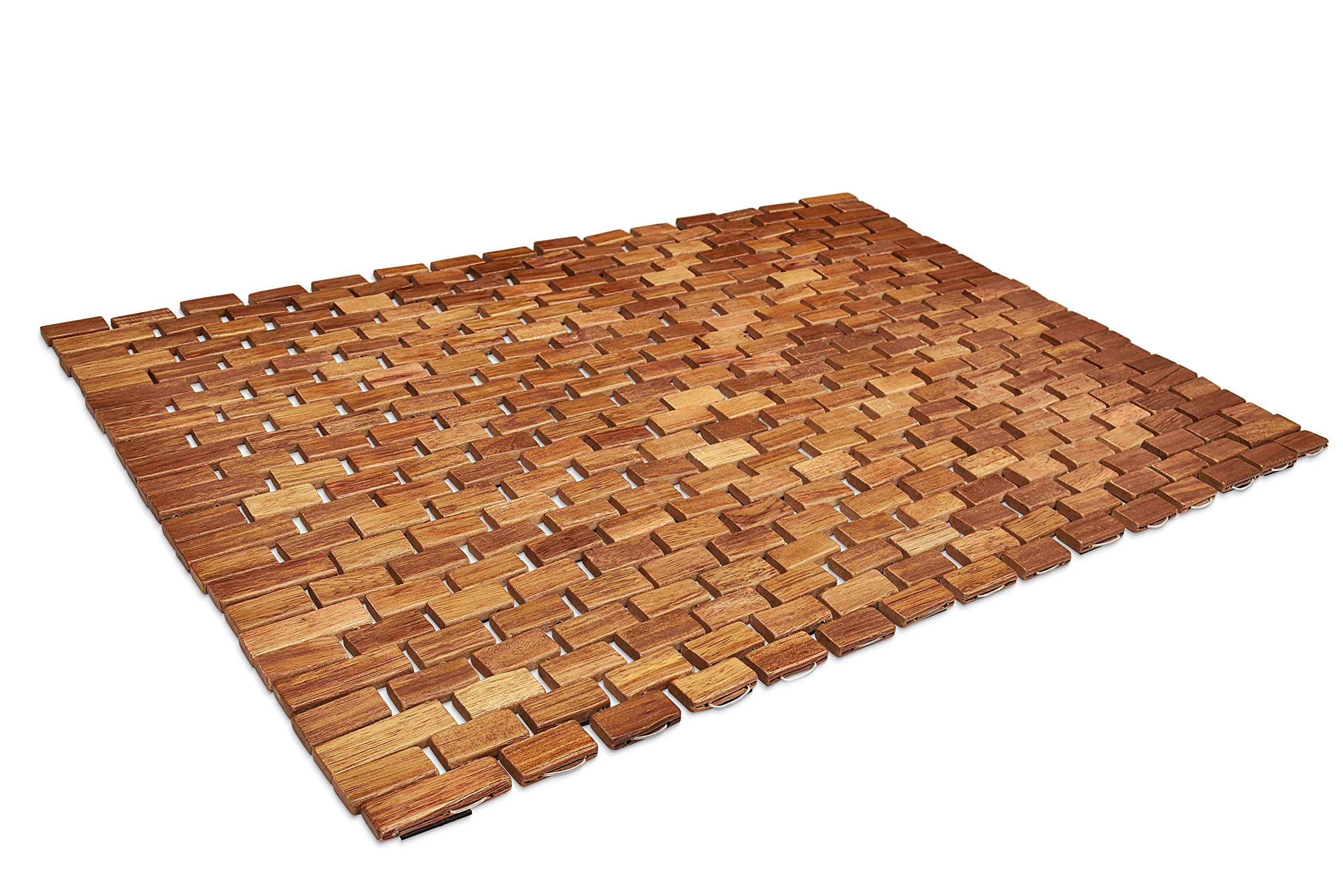 Soothing Styles Handcrafted Folding Teak Shower Mat | Mildew Resistant Teak Bath Mat with Non Slip Grips | Easily Rolls Up For Use Inside Or Outside Of The Bathtub Or Shower