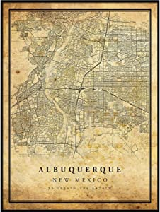 Albuquerque map Vintage Style Poster Print | Old City Artwork Prints | Antique Style Home Decor | New Mexico Wall Art Gift | map Old 8.5x11