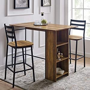 """Walker Edison Furniture Company 3 Piece Drop Leaf Counter Table Dining Set with Storage, 48"""", Reclaimed Barnwood"""