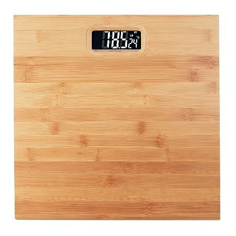 Relaxdays Báscula Baño Digital hasta 180 kg, Bambú y Plástico, Beige ...