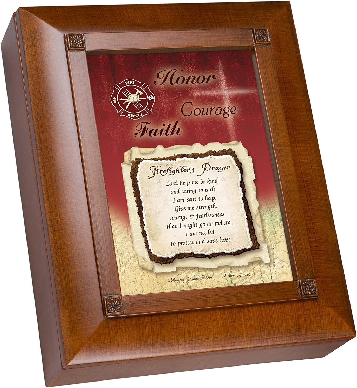 Cottage Garden Firefighter's Prayer Woodgrain Embossed Remembrance Keepsake Box
