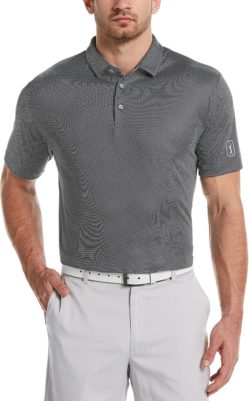 PGA TOUR Men's Standard Mini Gingham Print Short Sleeve Golf Polo Shirt