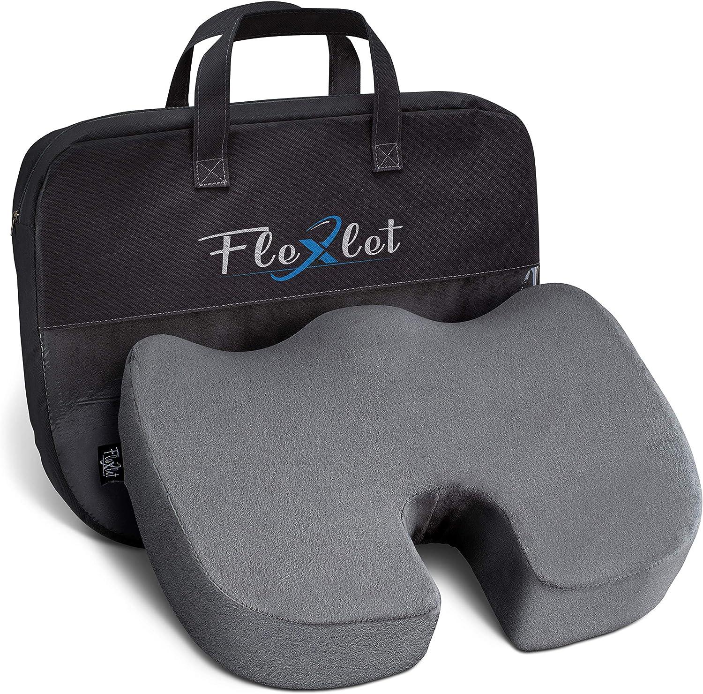 Flexlet® Cojín de asiento ergonómico – varios grados de dureza para tu peso corporal, alivia la presión, funda de terciopelo, bienestar para tu día a día, color gris, cojín para coxis [90 – 120 kg]