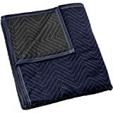 "Sure-Max Moving & Packing Blanket - Pro Economy - 80"" x 72"" (35 lb/dz weight) - Professional Quilted Shipping Furniture Pad Navy Blue and Black"