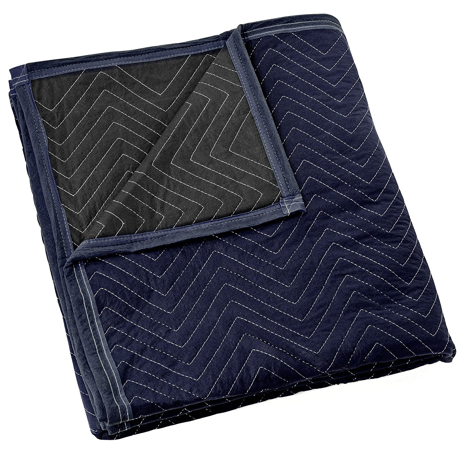"Sure-Max Moving & Packing Blanket - Pro Economy - 80"" x 72"" (35 lb/dz weight) - Professional Quilted Shipping Furniture Pad Navy Blue and Black - 1 Blanket"