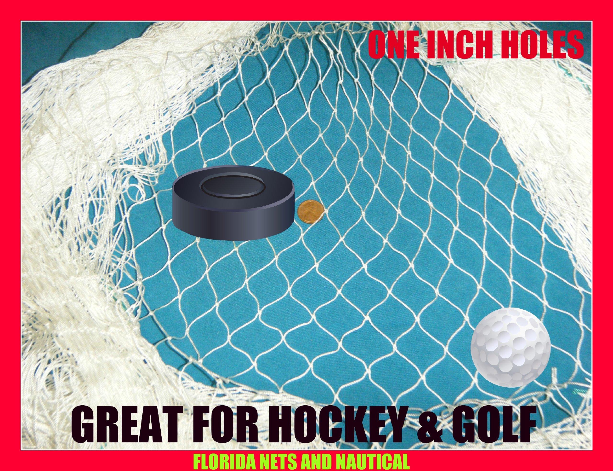 10 X 25 Fishing Net, Netting, Fish Net for Golf Backstop, Hockey, La Crosse, Barrier, Sports