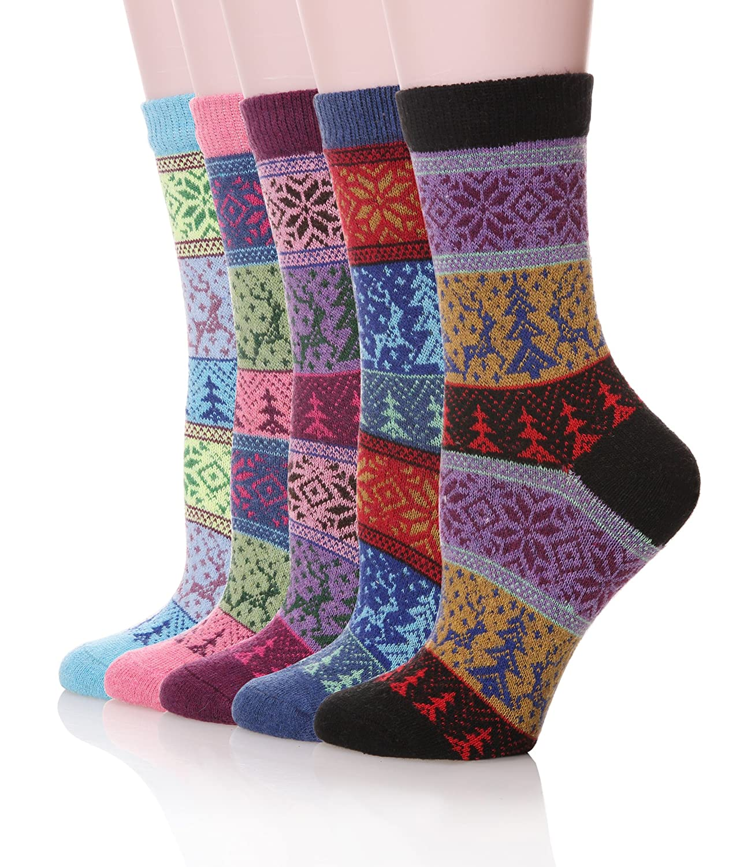 Womens Vintage Style Cotton Knitting Wool Warm Winter Crew Socks 5-pack