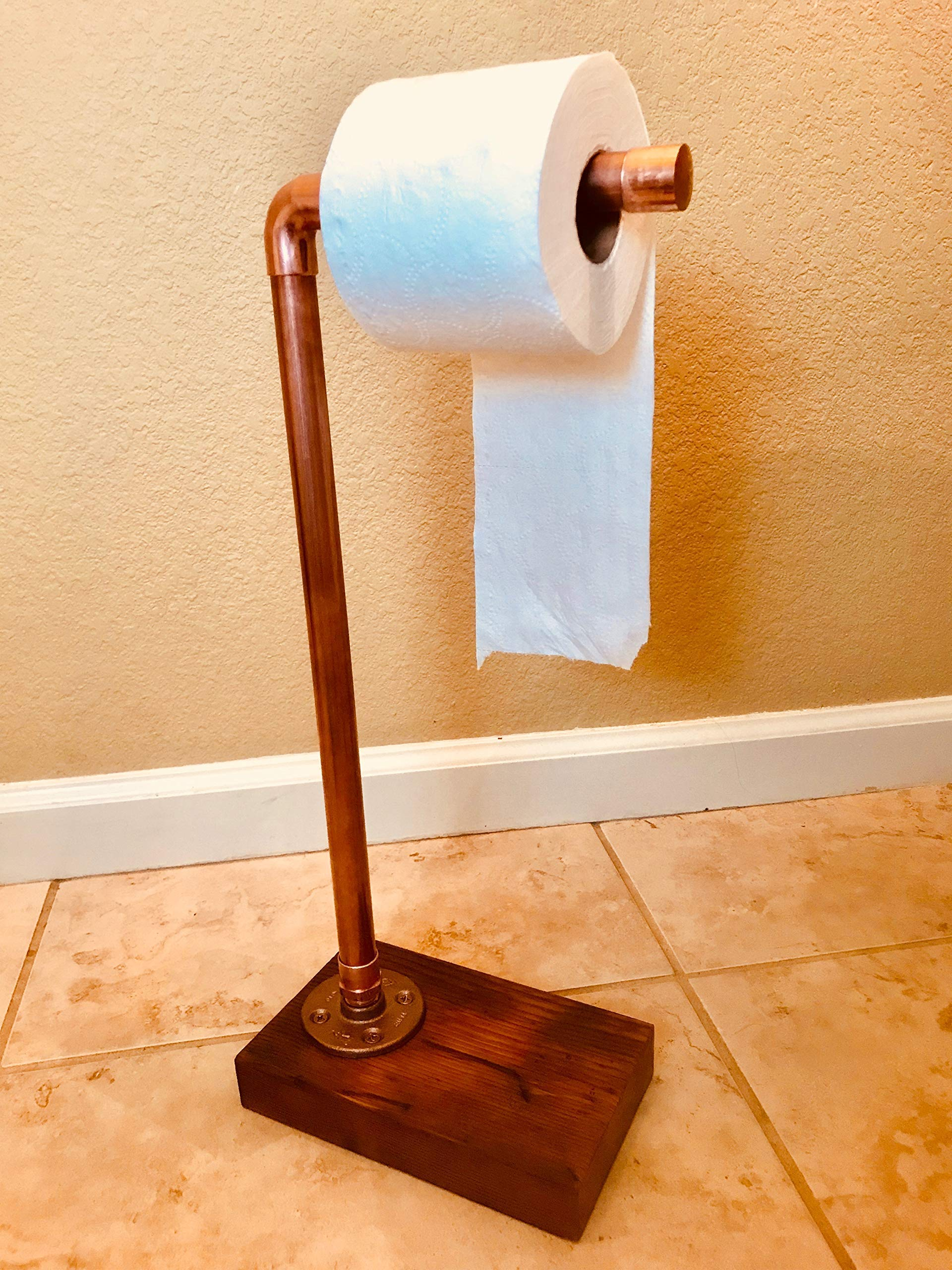 Industrial Copper Toilet Paper Stand Holder Rustic Bathroom Accessory Copper Pipe, Wood, industrial décor, bathroom décor home