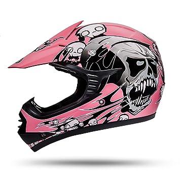 ATO skulletti Niños Motocross Casco rosa tamaño M L XL con la seguridad más reciente norma ECE