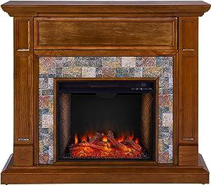 SEI Furniture Vogelsdon Faux Slate Alexa-Enabled Electric Hidden Media Shelf Fireplace, Dark Sienna/Multicolor