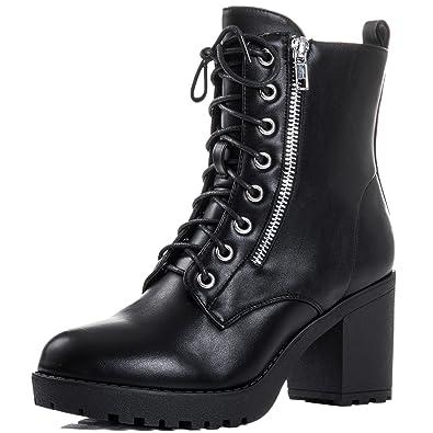 fe94d3fb40ea Spylovebuy Rock IT Women s Lace up Block Heel Ankle Boots Shoes  Amazon.co. uk  Shoes   Bags
