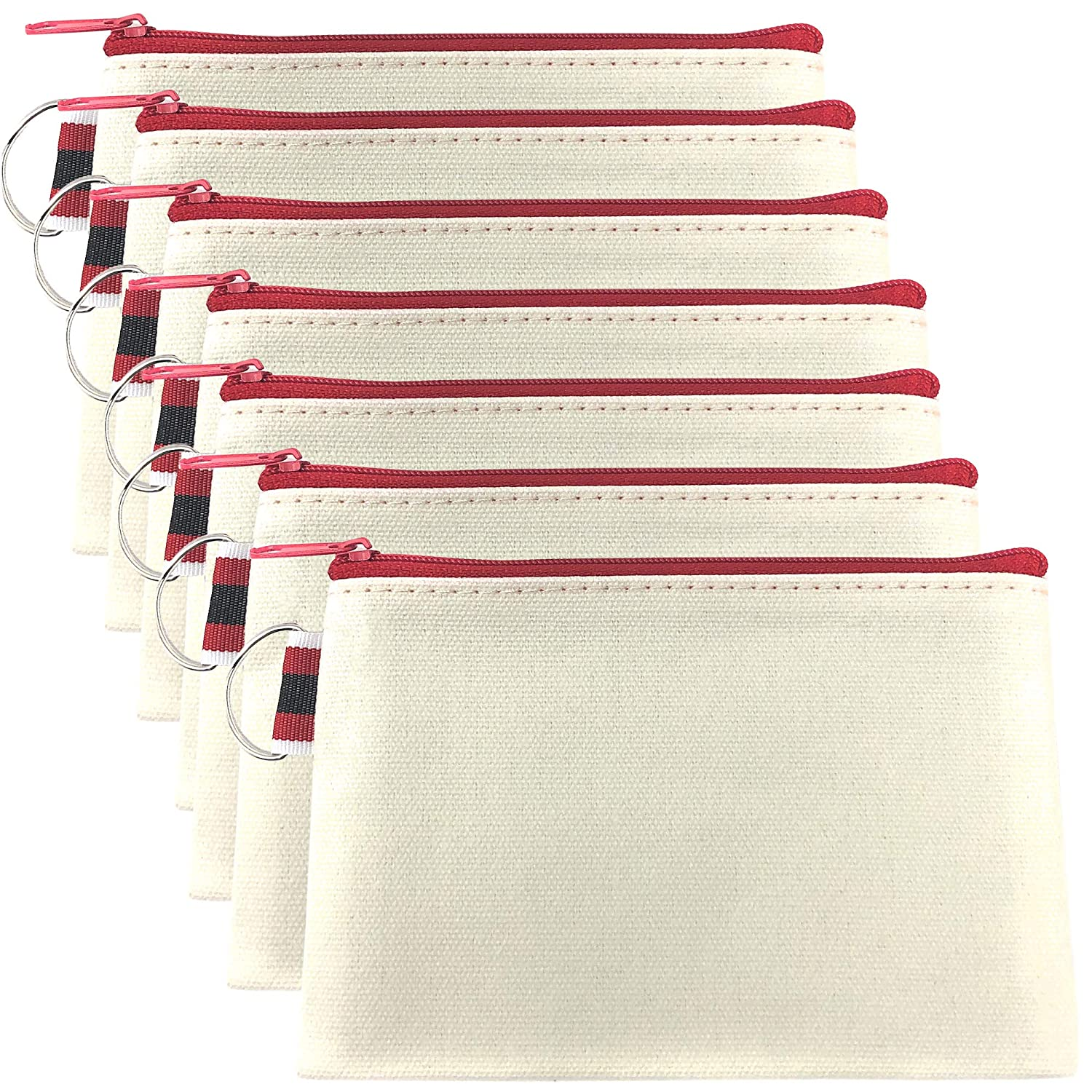 """Rusoji 7-Pack Multi-Purpose Blank Canvas Bag with Zipper, Heavy Duty DIY Storage Pouch Organizer for Makeup Tool, Cosmetic, Travel Accessories, 6"""" x 4"""""""