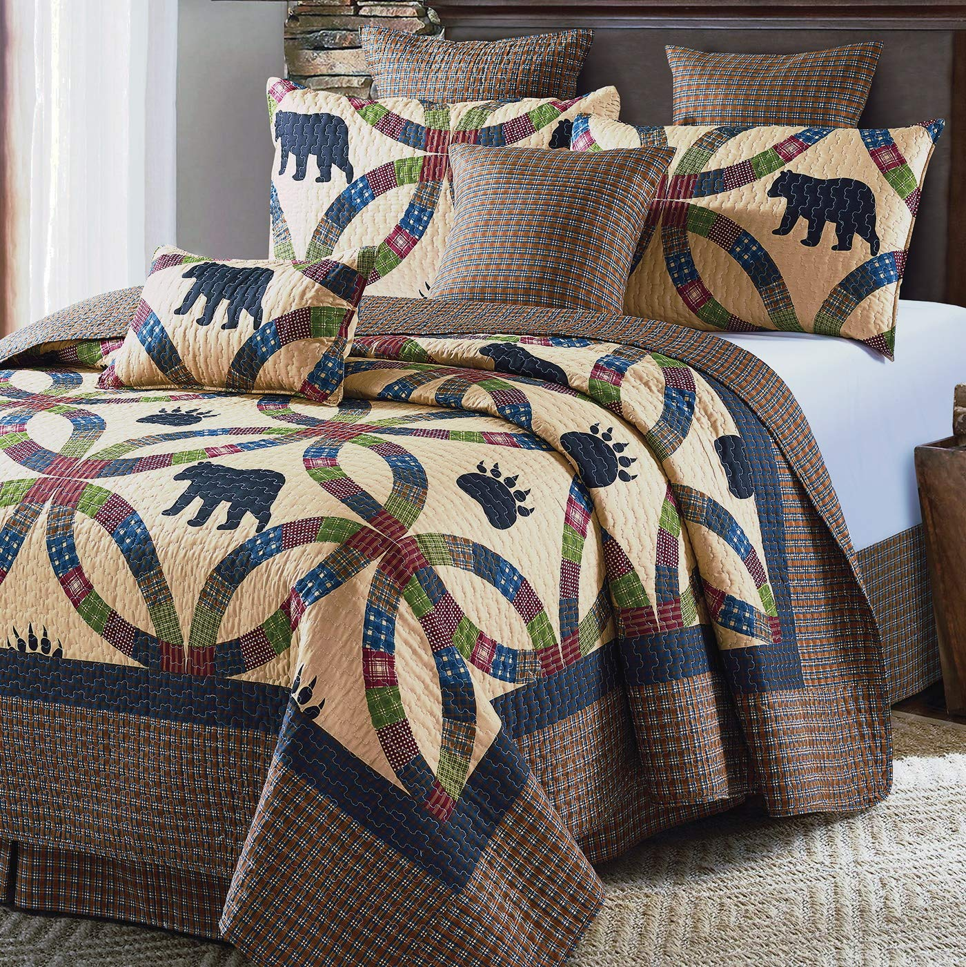 Virah Bella Black Bear Wedding Ring 3pc Quilt Set (King)