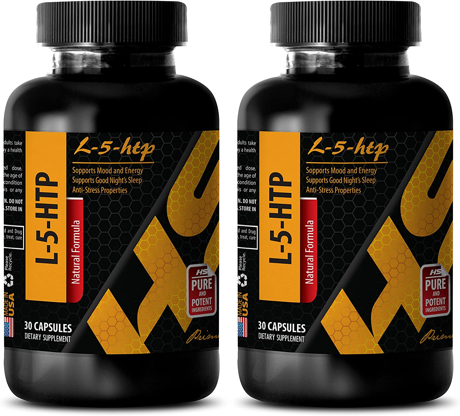 Mood boost natural supplement for stress and anxiety relief - L-5-HTP - 5-htp vitamin c - 2 Bottles 60 Capsules