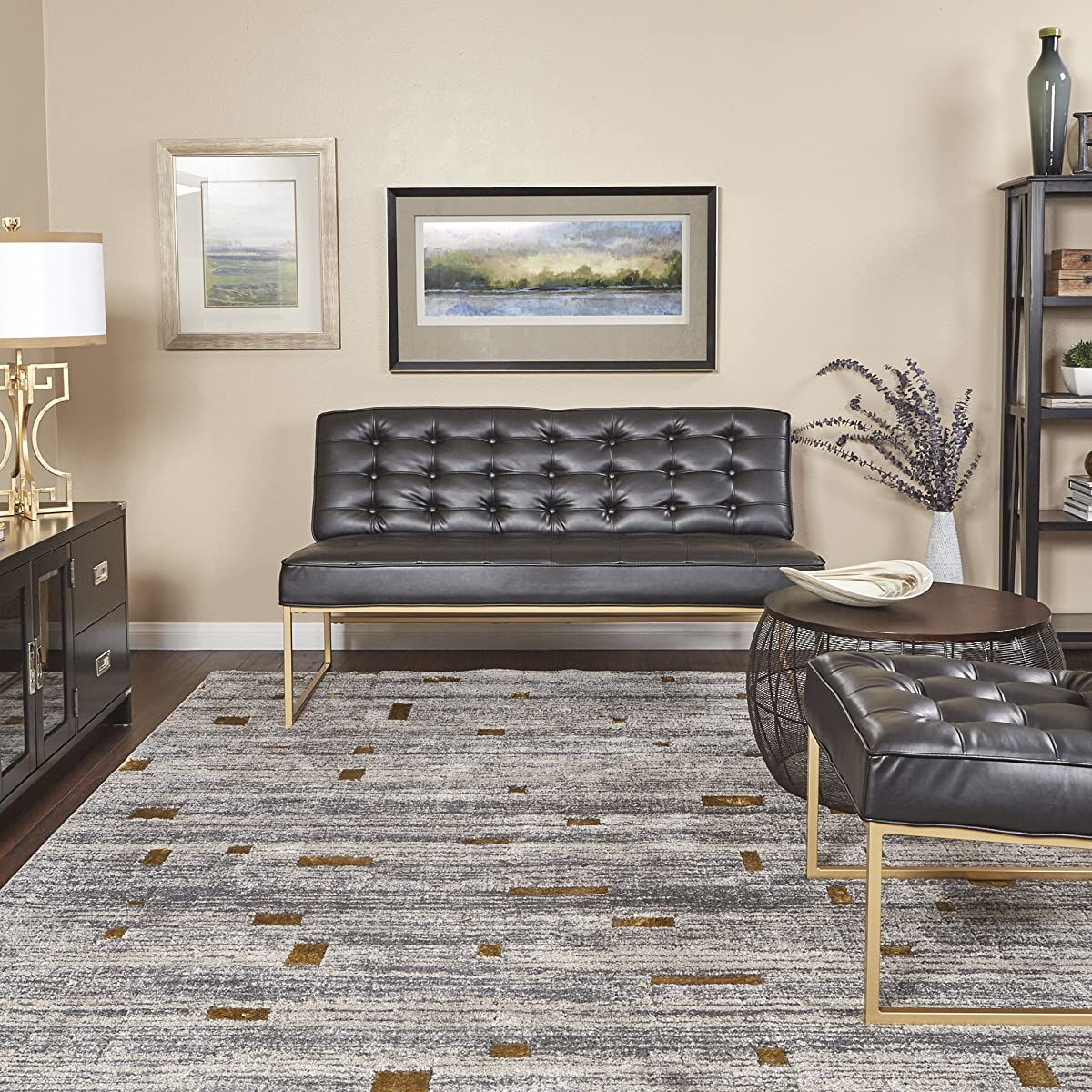 AVE SIX Anthony Loveseat with Tufted Faux Leather and Coated Gold Frame, Black