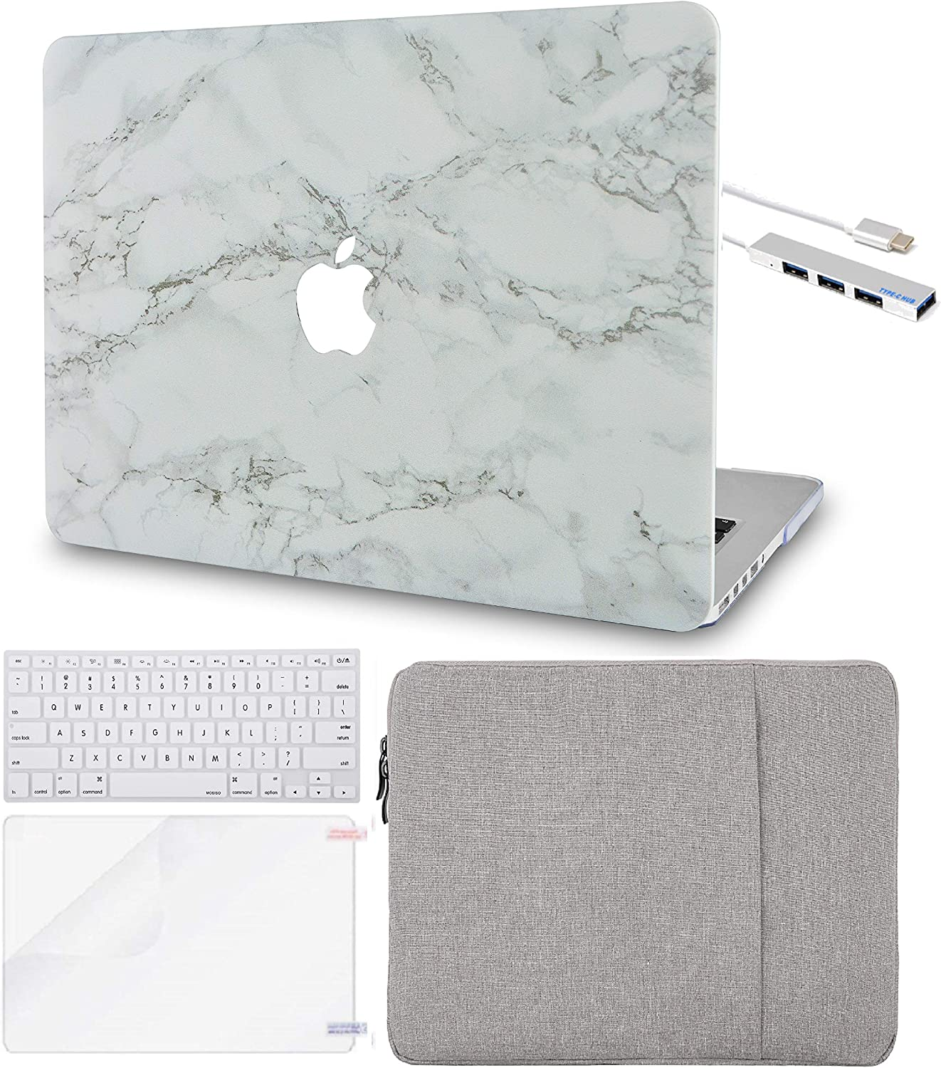 LuvCase 5in1 Laptop Case for MacBook Air 13 Inch (2020) A2179 Retina Display (Touch ID) Hard Shell Cover, Sleeve, USB Hub 3.0, Keyboard Cover&Screen Protector (White Marble with Grey Veins)