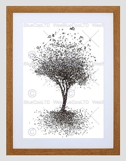 PINTURA dibujo alfabeto árbol hojas carta negro enmarcado arte ...
