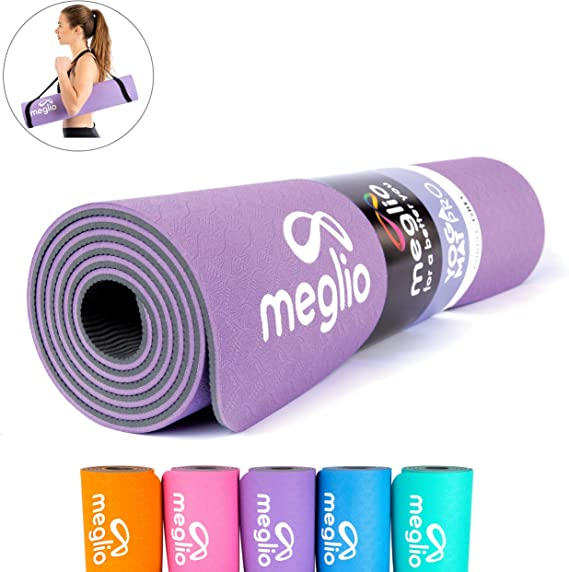 Meglio Yoga Mat, Premium Non Slip TPE Yoga Mat 8mm Thick, Eco friendly Mat for Yoga, Pilates, Fitness Exercises, Gymnastics, Stretching, Home or Gym Workouts For Men and Women with FREE Carry Strap Included