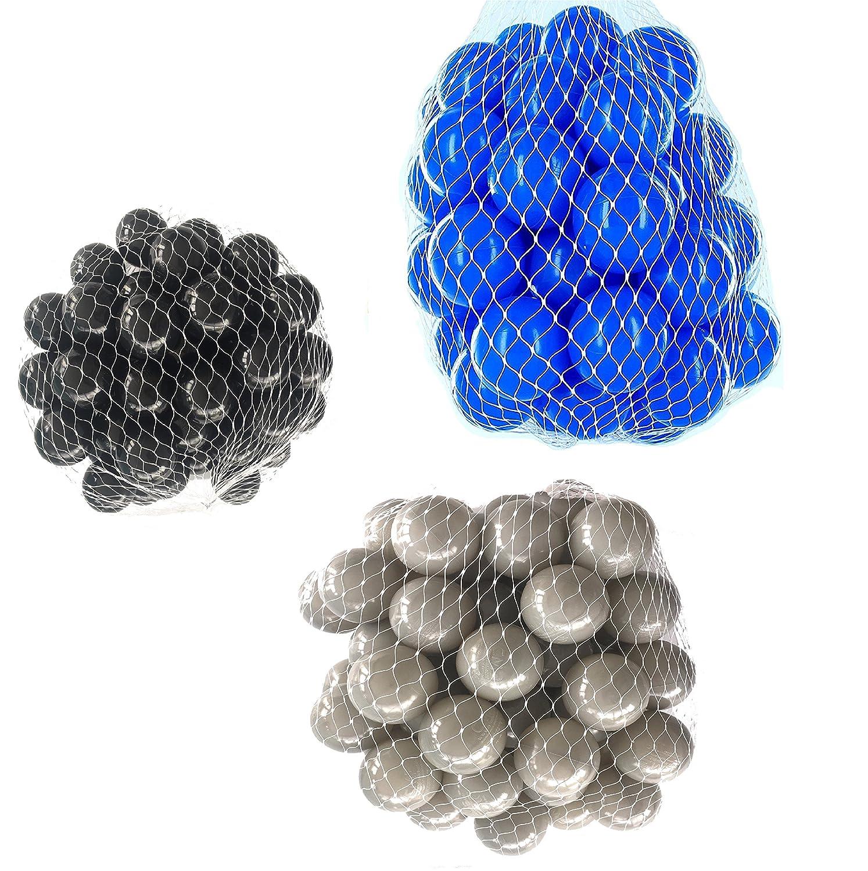 150 Bälle für Bällebad gemischt mix mit grau, blau und schwarz mybällebad