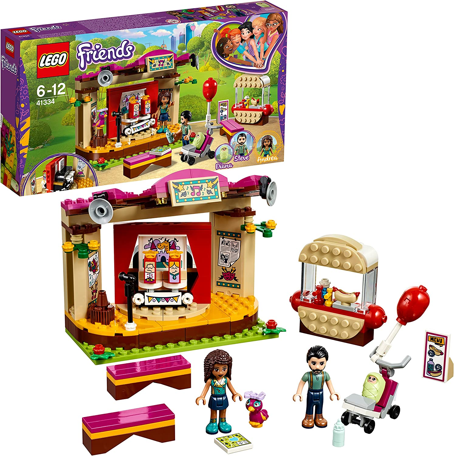 LEGO UK - 41334 Friends Andrea's Park Performance Toy for Girls and Boys
