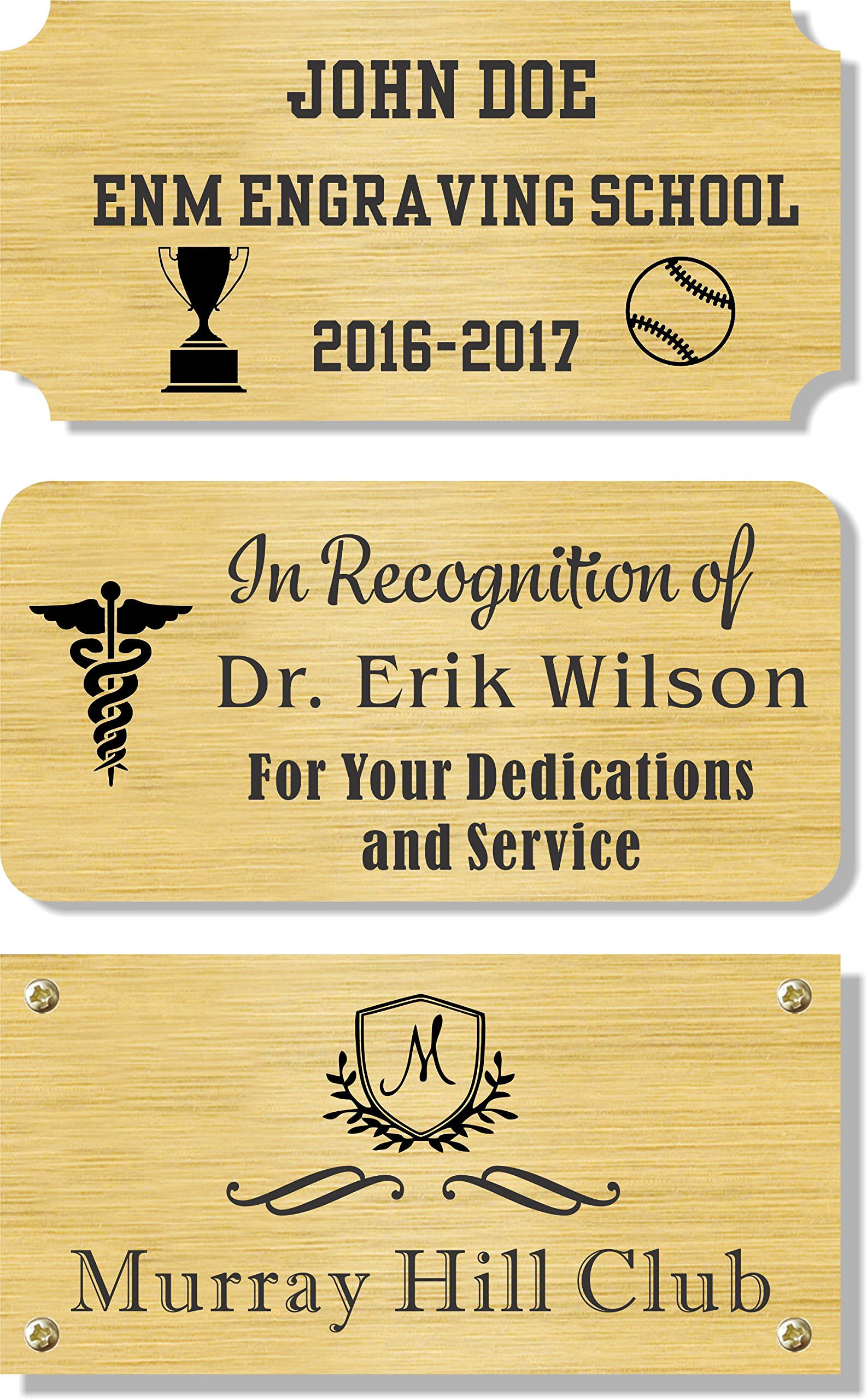 3'' H x 6'' W, Solid Brass Satin Name Plates, Personalized Custom Laser Engraved Nameplate Label Art Tag for Frames Notched Square Or Round Corners, Made to Order, Made in USA