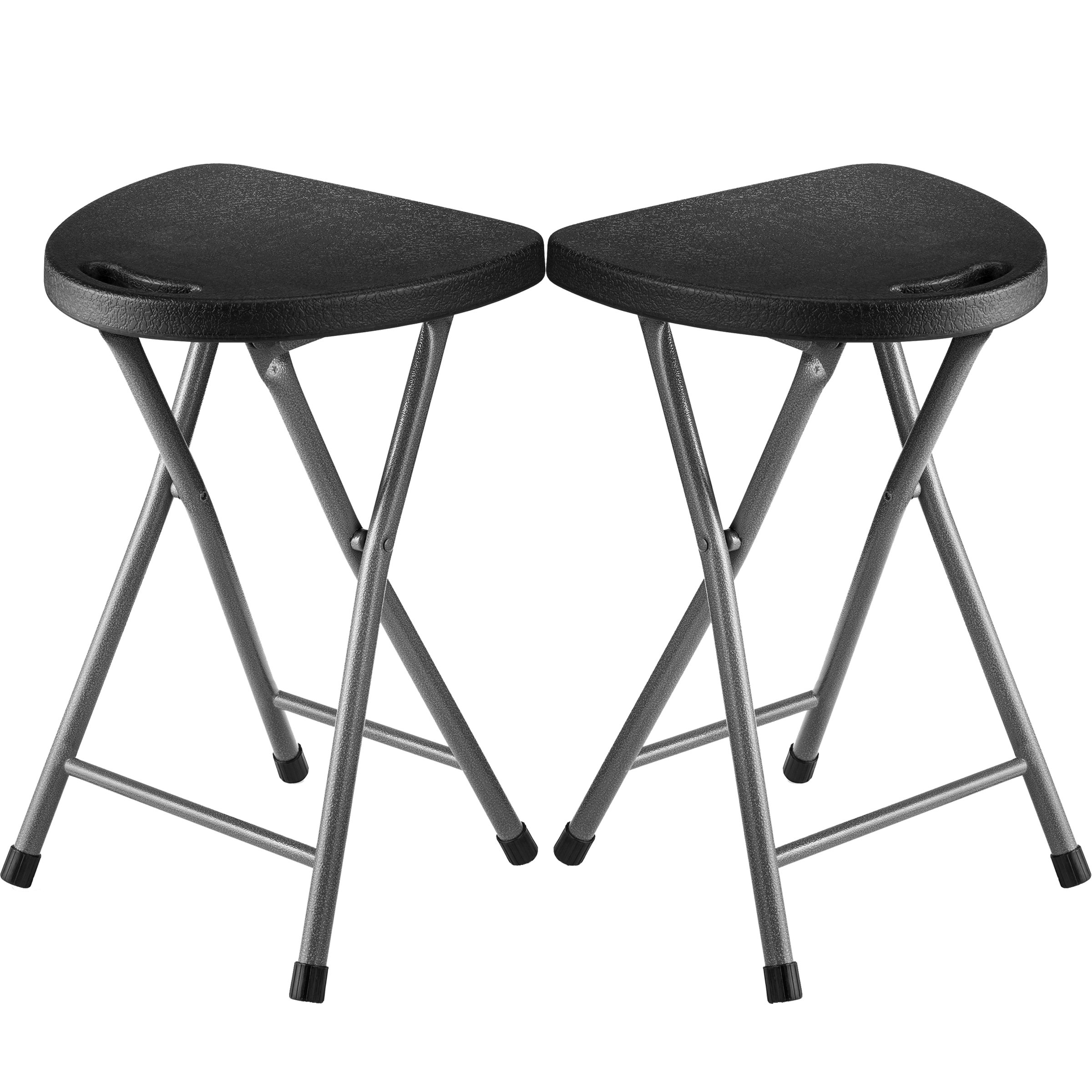 Zimmer Folding Stool (Set of 2) Portable Plastic Chair with Durable Steel Frame Legs for 220 Pound Capacity, Easy Carry Handle, Weather and Impact Resistant for Indoor/Outdoor Use, 18-Inch, Black