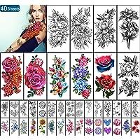 Yazhiji 40 vellen Waterdichte Tijdelijke Tattoos Grote Bloemen Collectie Blijvende Fake Tattoo Stickers voor Vrouwen of…