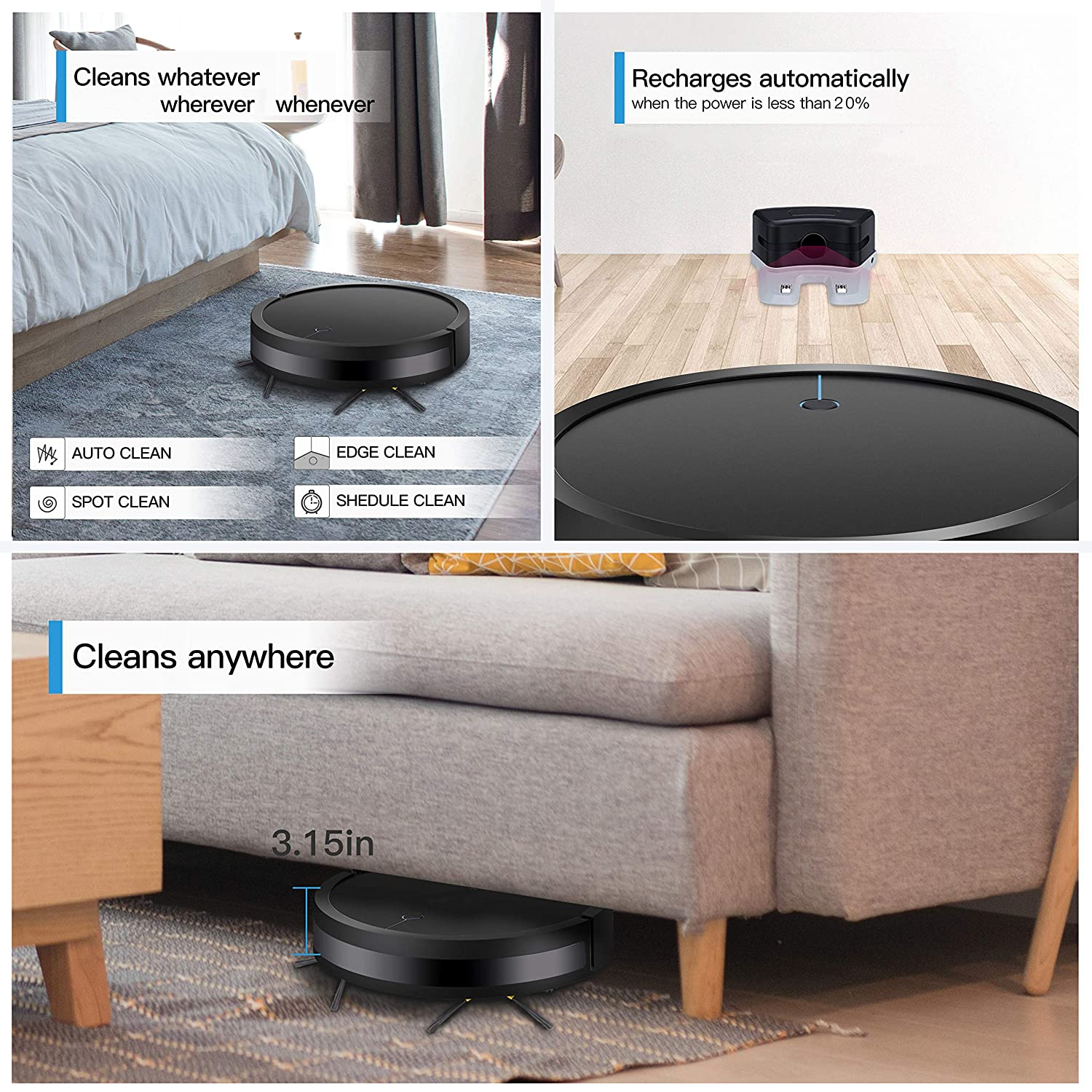 Robot Vacuum Cleaner Auto Charge, Slim Design, 1200Pa Strong Suction, 360 Smart Sensor Protection, Multiple Cleaning Modes Handles Hard Floors and Carpets Ideal for Homes 15.12 3.15 , Black