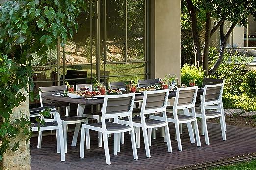 Keter - Mesa extensible de comedor exterior Harmony, Color chocolate: Amazon.es: Jardín