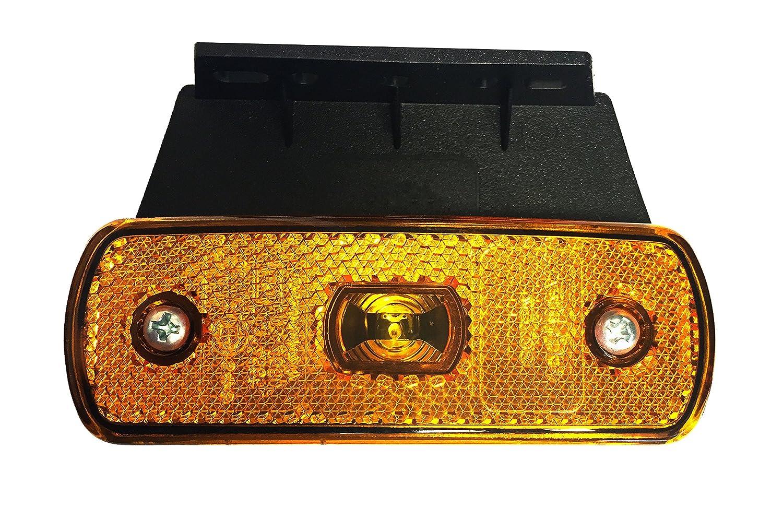 90/° Halter 1x LED Seitenmarkierungsleuchte 12V 24V orange mit Kabelschnellbefestigung P2G-Flachkabel