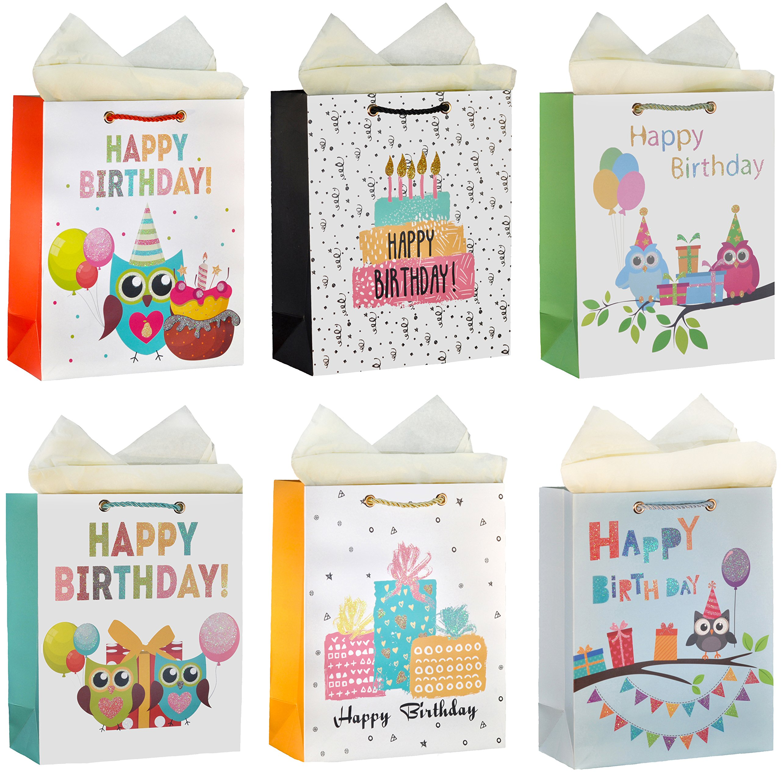 ViiGift Premium Large Birthday Gift Bags with Glitter and Tissue Papers, 6 Pack …