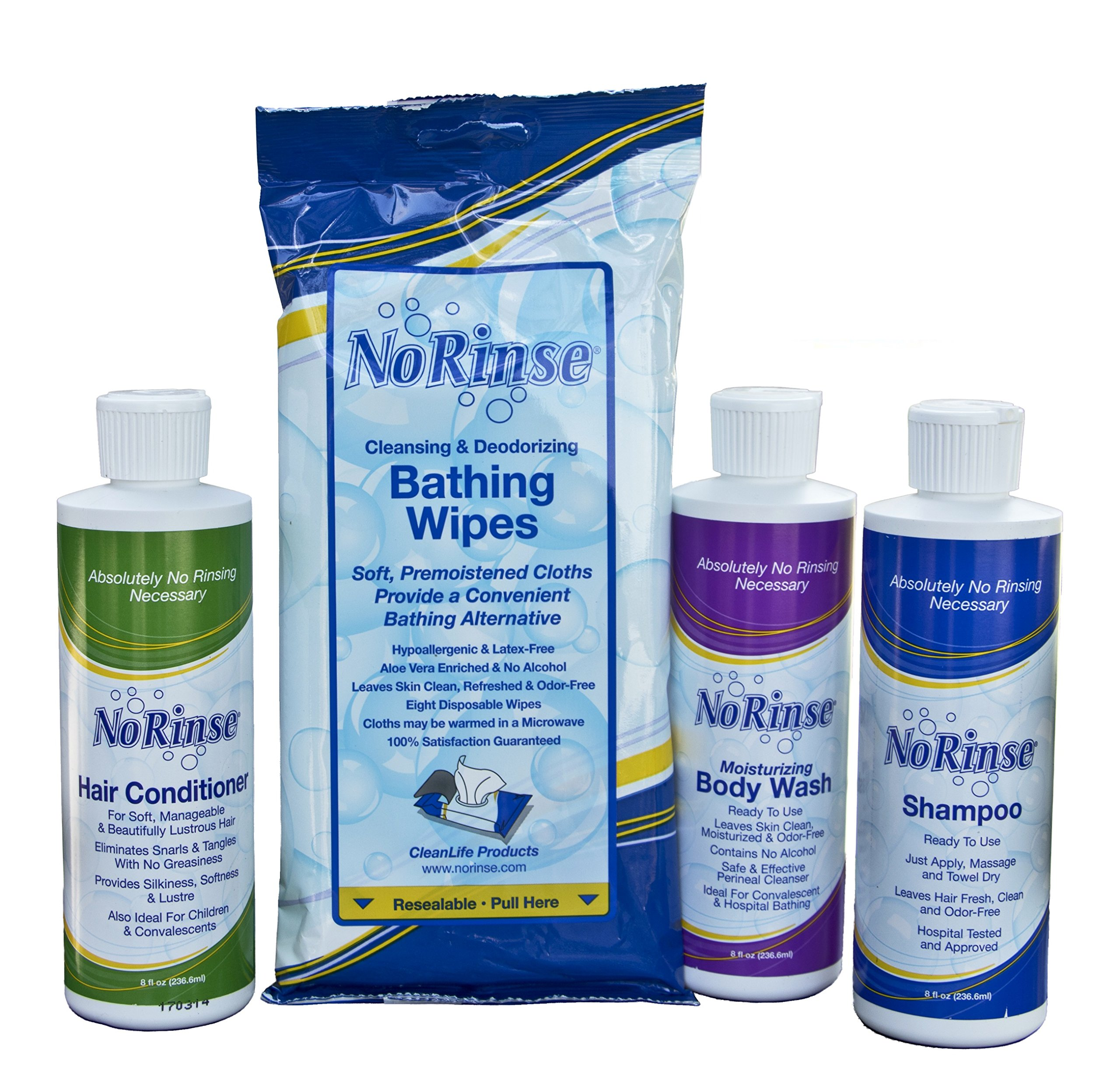 NoRinse Shampoo, Conditioner, Body Wash, and Bathing Wipes Road Trip Bundle Set