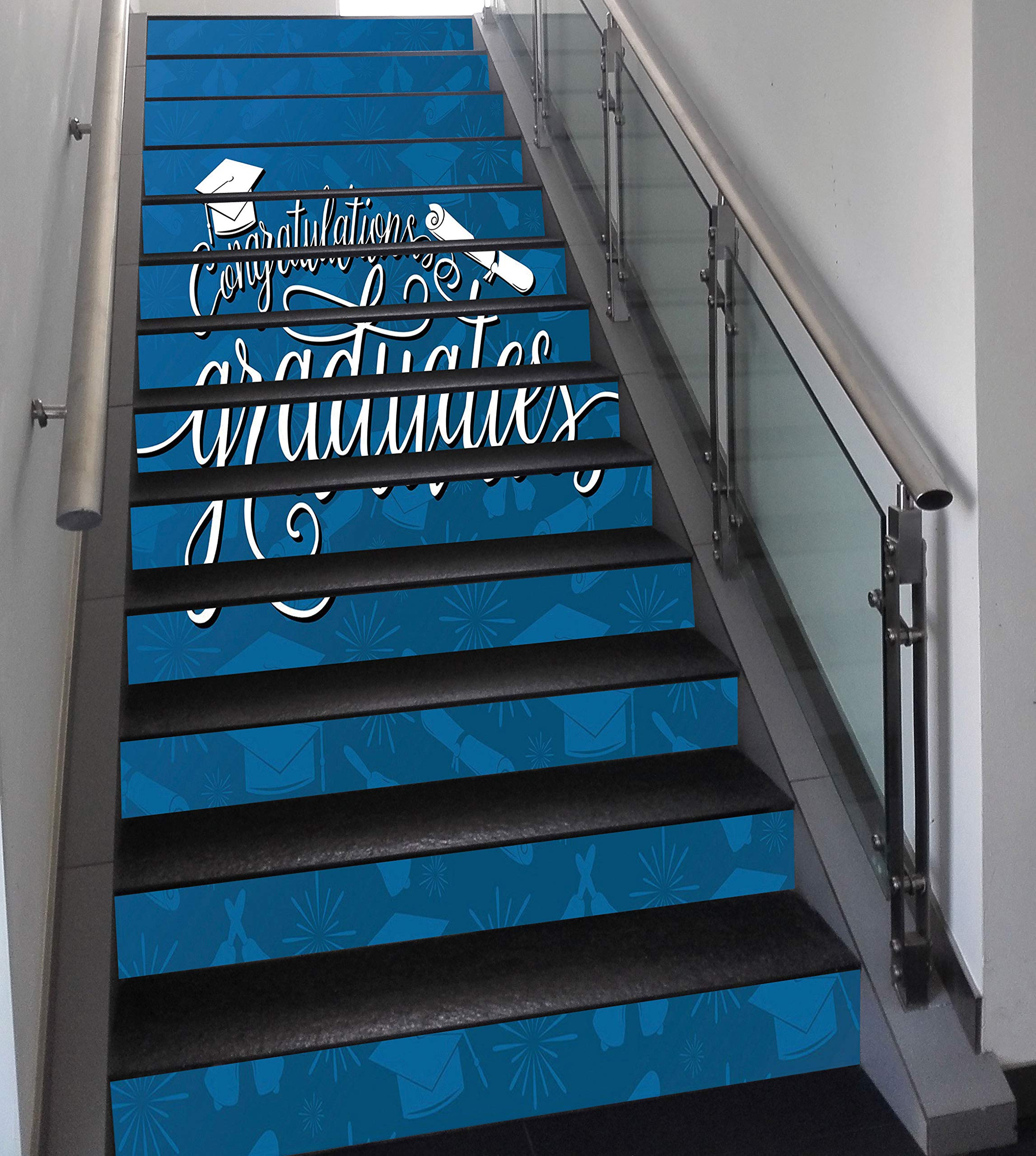 Stair Stickers Wall Stickers,13 PCS Self-adhesive,Graduation Decor,College Celebration Ceremony Certificate Diploma Square Academic Cap,Blue and White,Stair Riser Decal for Living Room, Hall, Kids Roo