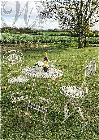 Amazon.de: Weiß Vintage Stil Garten Set von Gusseisen Tisch und ...