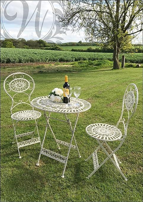 Tavoli E Sedie Stile Vintage.Whaleycorn Bianco Stile Vintage Garden Set Di Tavolo E Sedie In