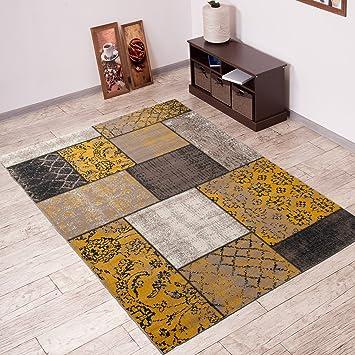 TAPISO Vintage Teppich Wohnzimmer Orient Muster Patchwork Karo | Farbe Beige  | Shabby Chic Style |
