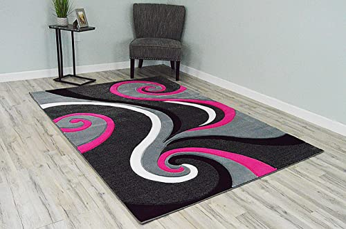 PlanetRugs Inc Premium 3D Effect Hand Carved Modern Abstract 5×7 Colorful Luxury Rug for Bedroom, Living Room, Dining Room Contemporary Carpet 327 Grey Gray Pink