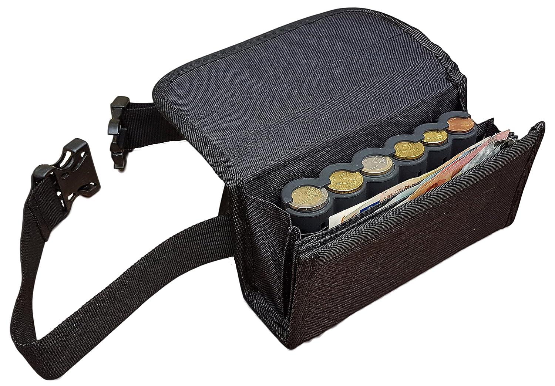 Billetero incluido Dispensador // Distribuidor // Clasificador para las 6 Monedas de Euros Cartera CLAIRE-FONCET Ri/ñonera de Camarero de lona negra Cierre Magn/ético Monedero de Camarero