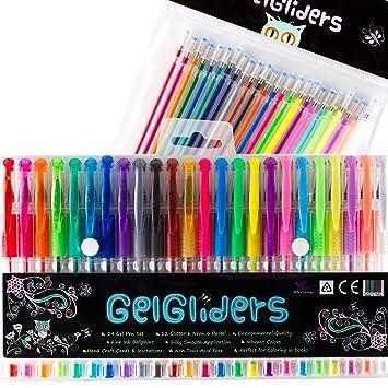 Gel Pens | 24 Colored Pens with Bonus 24 Gel Ink Refills | Glitter ...