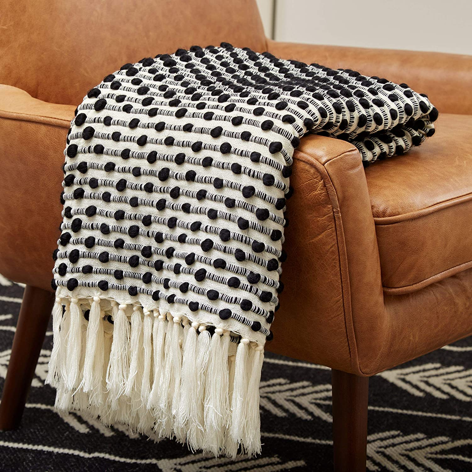 "Rivet Bubble Textured Lightweight Decorative Fringe Throw Blanket, 48"" x 60"", Black and Cream"