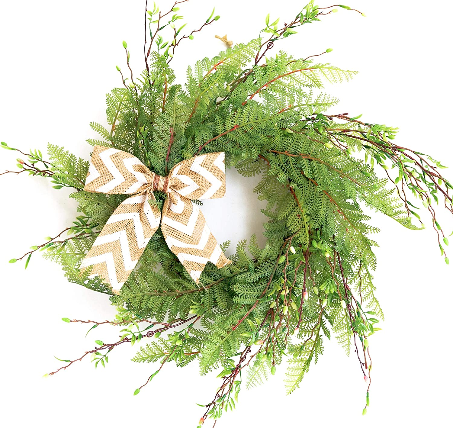 """Tiny Land 22"""" Wreath for Front Door/Knotted Bow, Handcrafted Wicker Rattan Loop Frame 